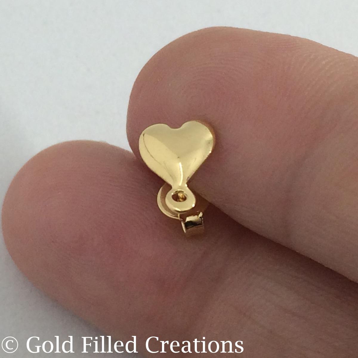 gold Heart earrings Studs