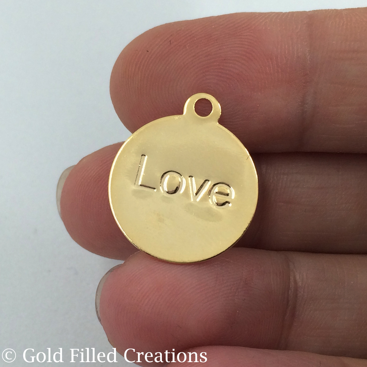 gold Love Stamped pendant