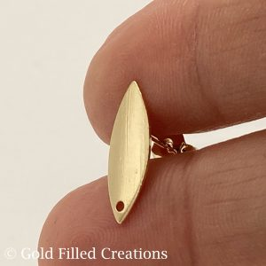 Gold Filled Studs Oval Earrings Brushed 17mm