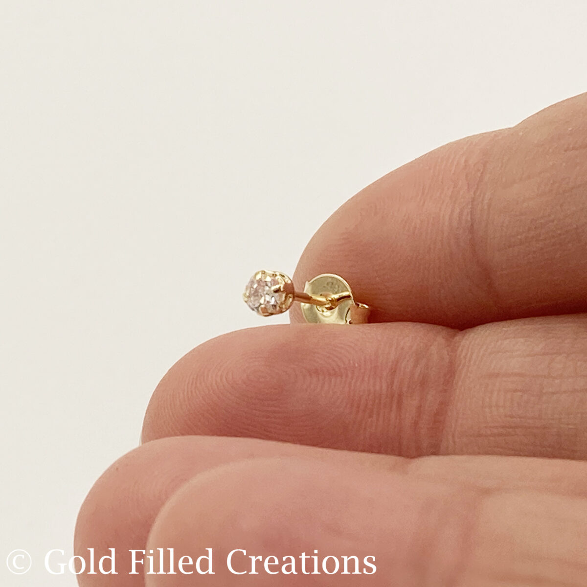 Gold Filled Clear Round CZ Cubic Zirconi