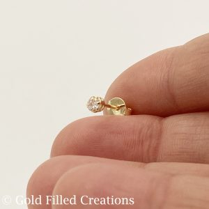 Gold Filled Clear Round CZ Cubic Zirconia Stone Stud Earrings 3.5mm