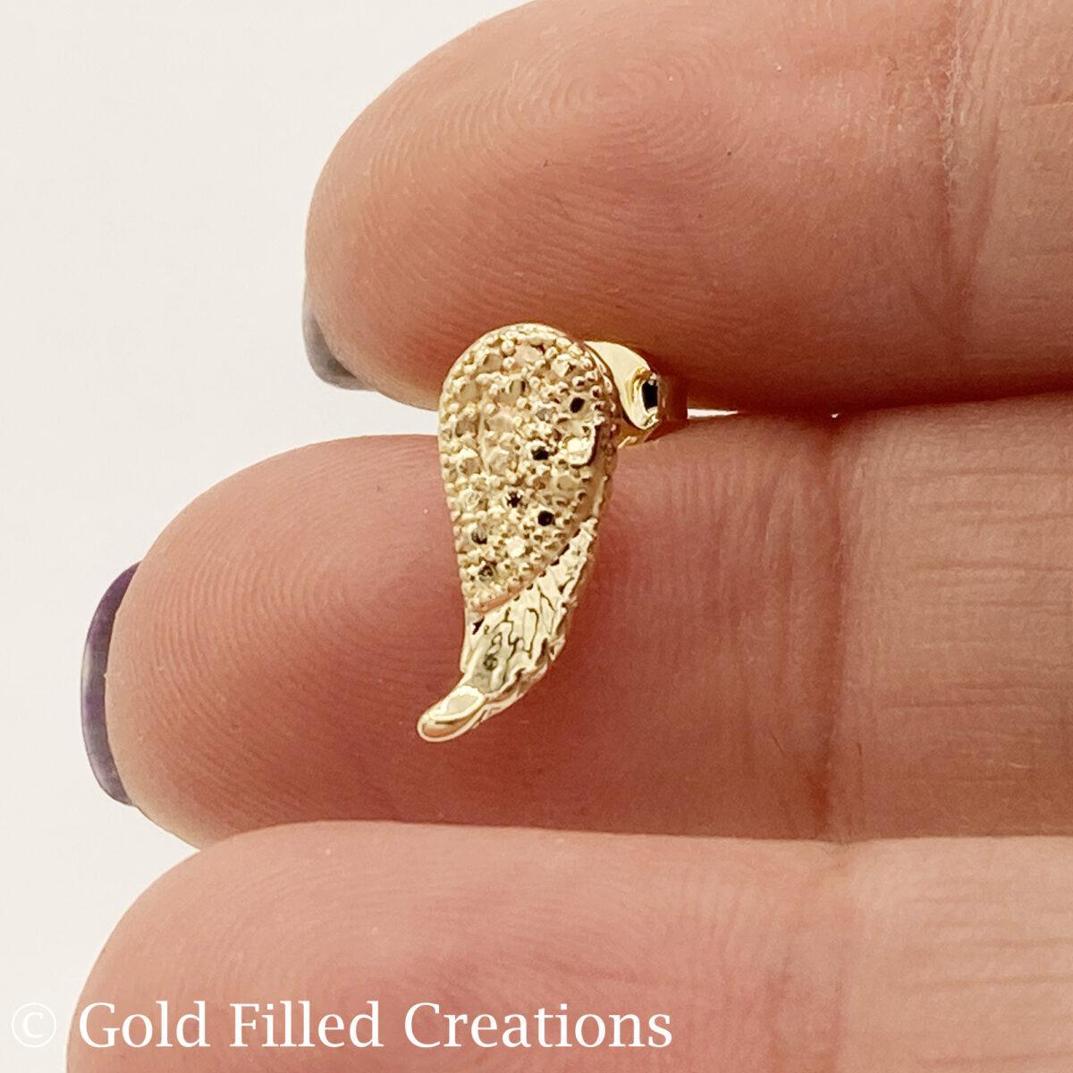 Gold Filled Angel Wing Stud Earrings