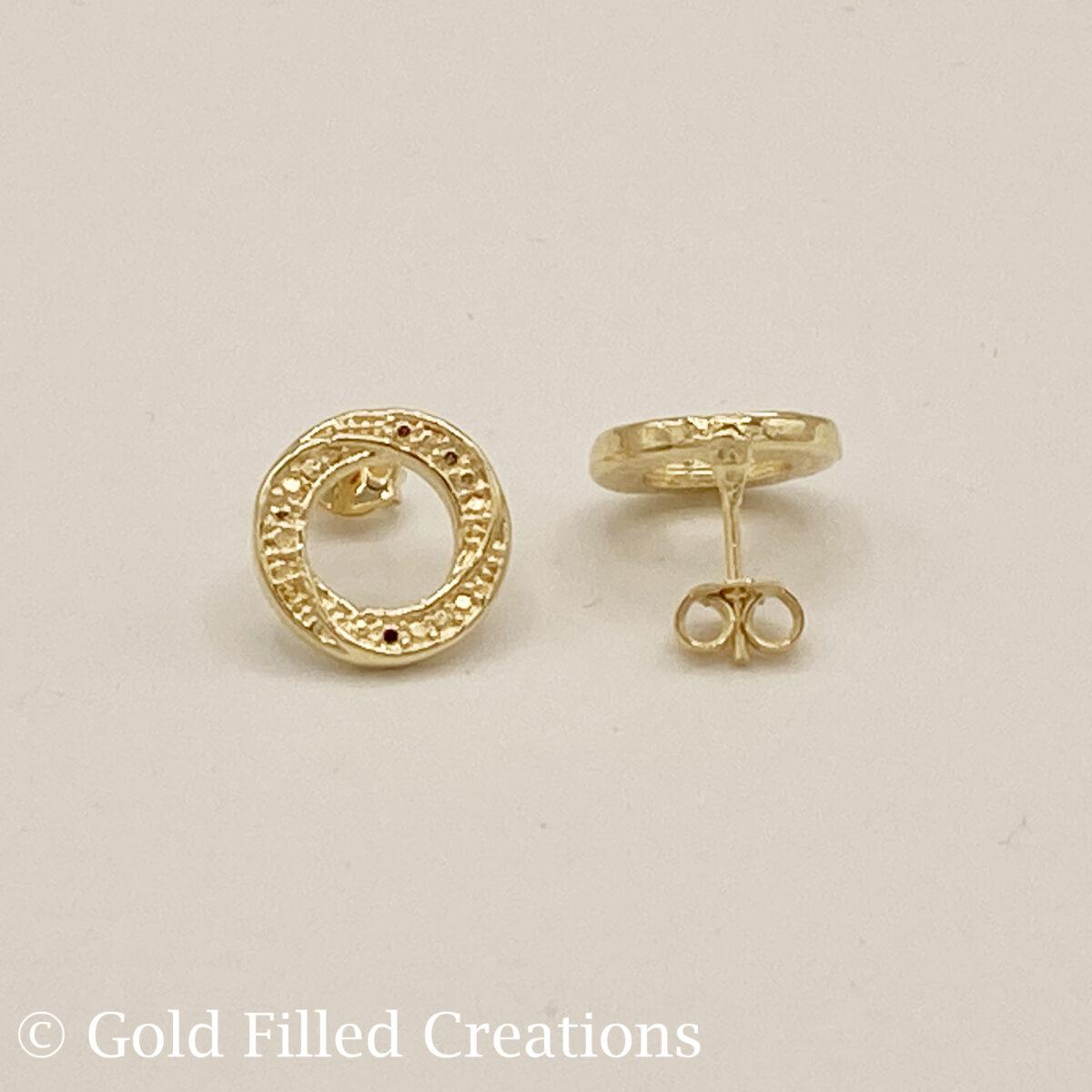 gold fill circle stud earrings