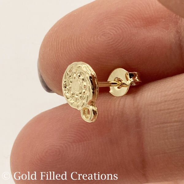 gold filled round earrings stud