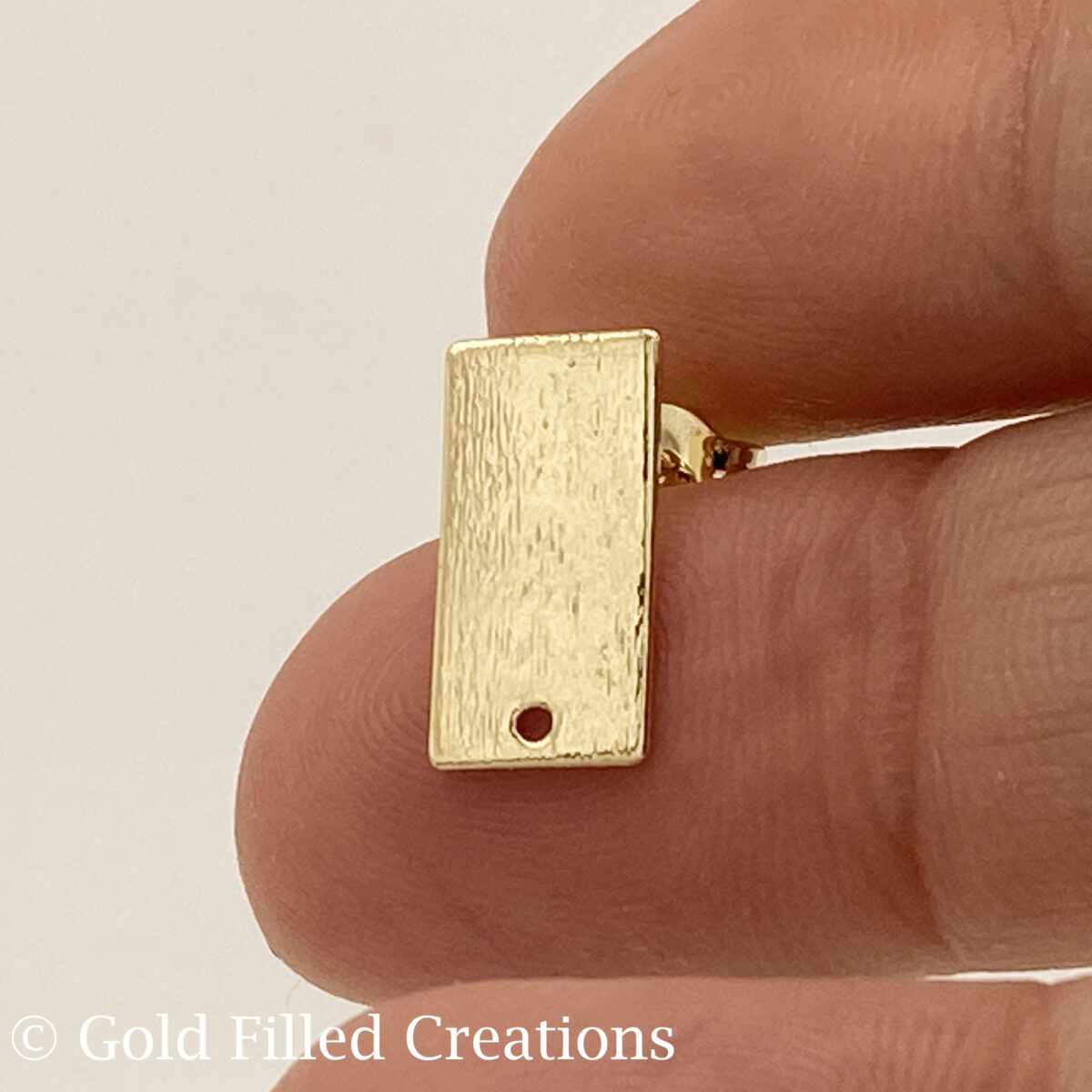 Gold Filled Rectangle Earrings Studs Brushed