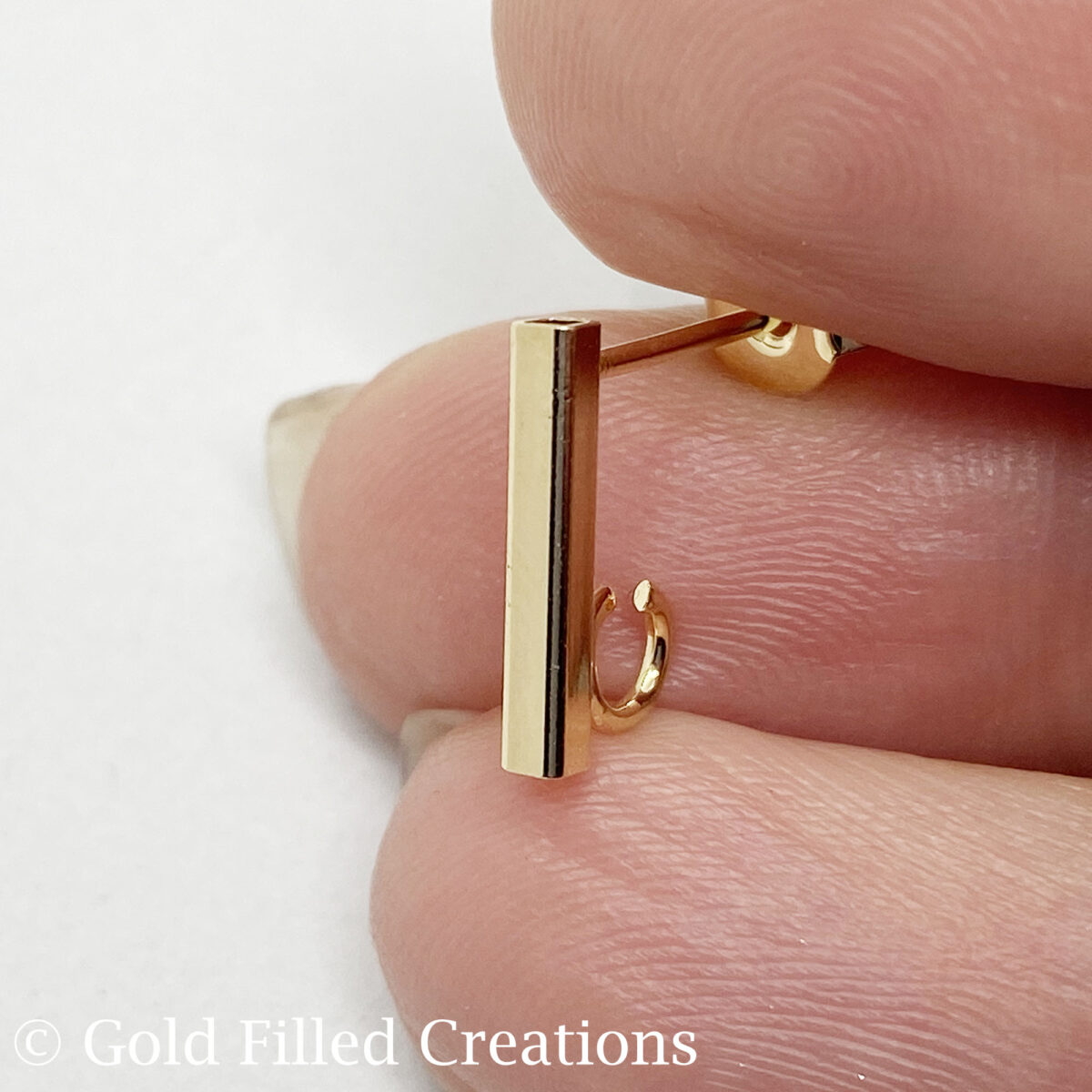 Gold Filled Bar Earrings Studs 12mm