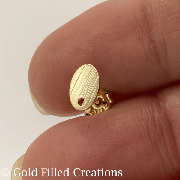 Gold Filled Stud Earrings Oval Brushed