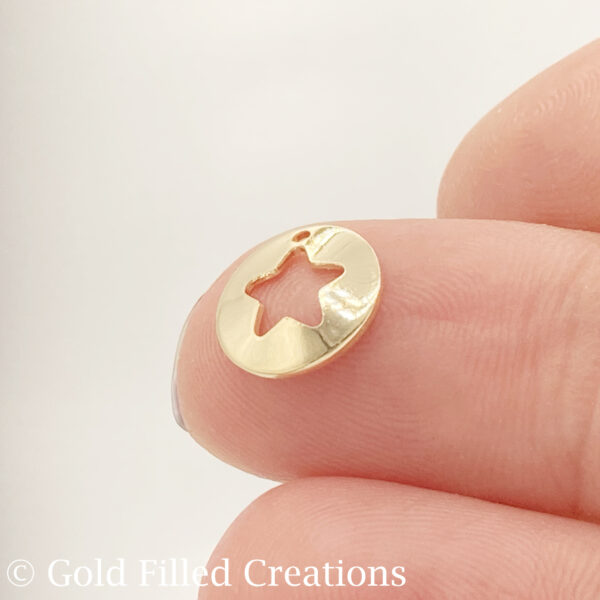 Gold Filled Round Cut Out Star Charms