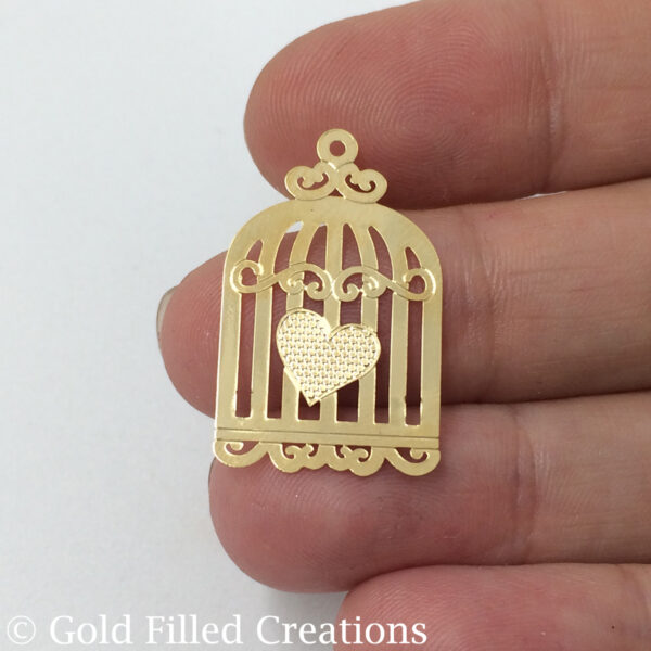 Gold Filled Bird Cage Charms Pendant