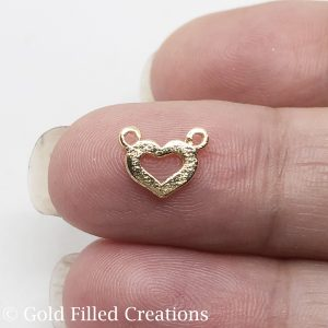 Gold heart connectors charms